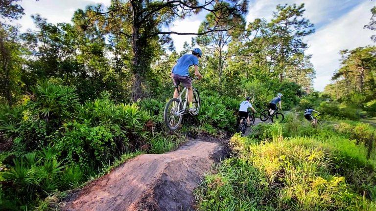 Mountain biker jumping
