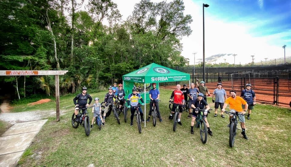 Group at mountain bike trail